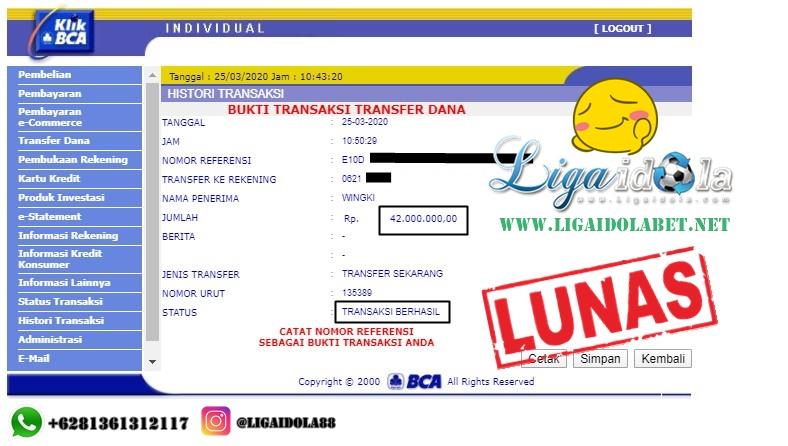 JACKPOT LIGAIDOLA 25 Maret 2020 Atas Nama Bapak WINGKI